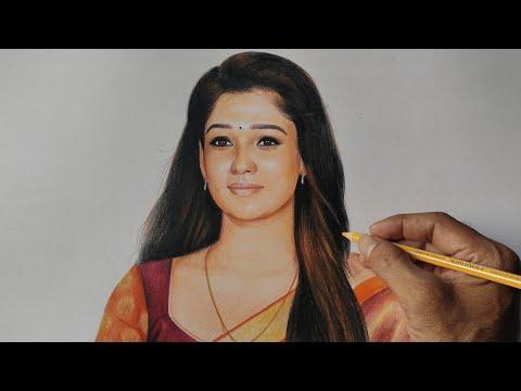 Nayanthara colour pencil drawing video / Doms color pencils / live art chennai