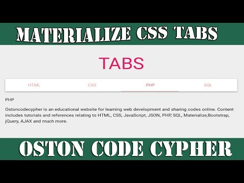 How To Create Simple & Responsive Tabs Using Materialize CSS