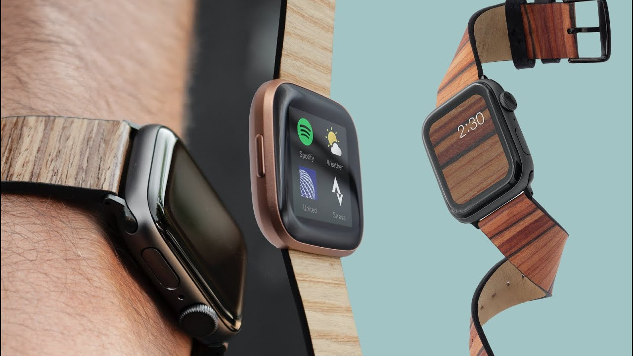 A patented, eco-friendly, real wood Apple Watch & Fitbit Versa watch band - YouTube