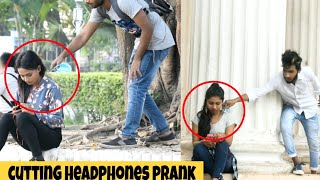 CUTTING PEOPLE'S HEADPHONES PRANK | PRANKS IN INDIA | BY - MOUZ PRANK