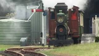 "Narrow gauge Baldwin, ""Fairymead""and 0-6-2 Perry, No.7 at Lake Macquarie Light Railway, Toronto."