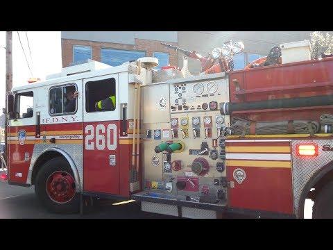 FDNY engine 260 Spare responding from quarters to a class 3 alarm