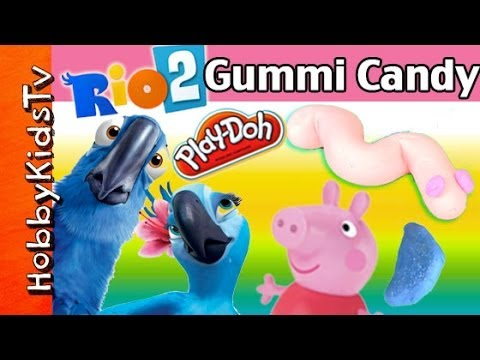PLAY-DOH Gummi Candy! Peppa Pig Drives RIO Birds From Movie, Blu, Nico, HobbyKidsTV