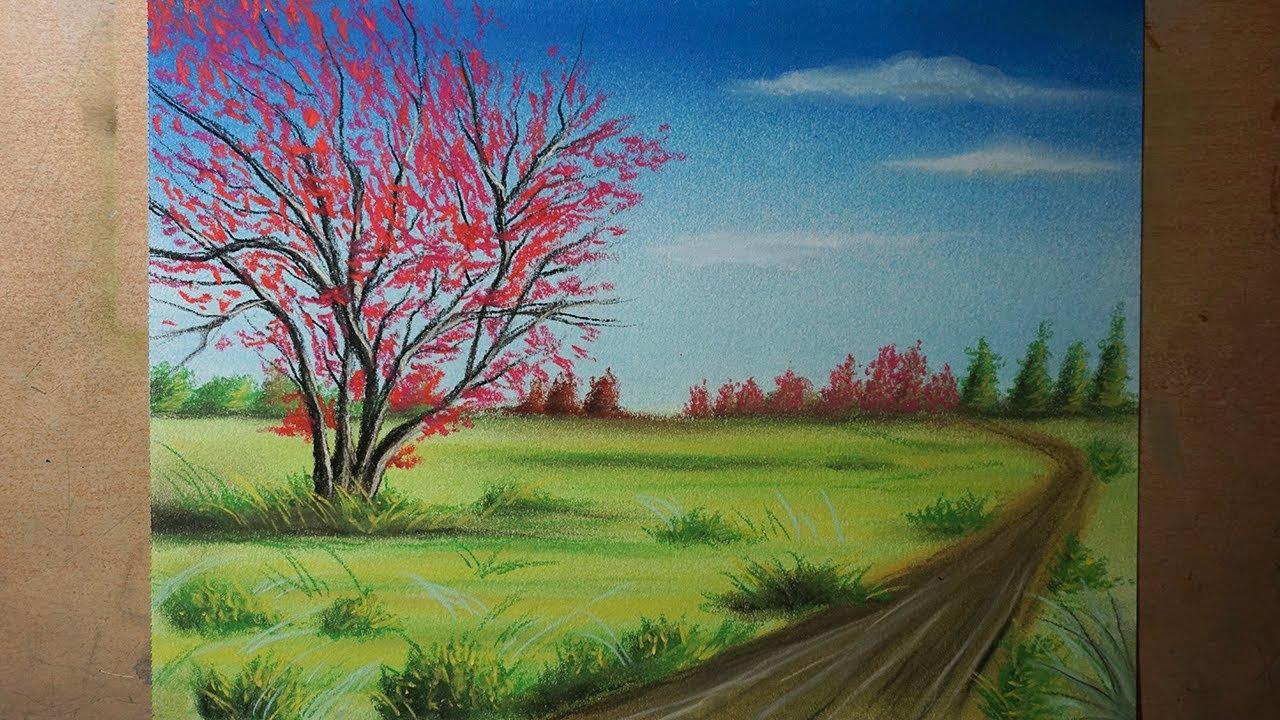 Cómo Dibujar Un árbol Rojo Y Un Paisaje De Campo Paso A Paso