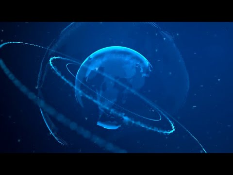 Digital Planet With Rings 02 Motion Graphics