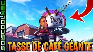 DANSER AU SOMMET D'UNE TASSE DE CAFÉ GÉANTE, ÉTAPE 2 DÉFIS SEMAINE 9, FORTNITE