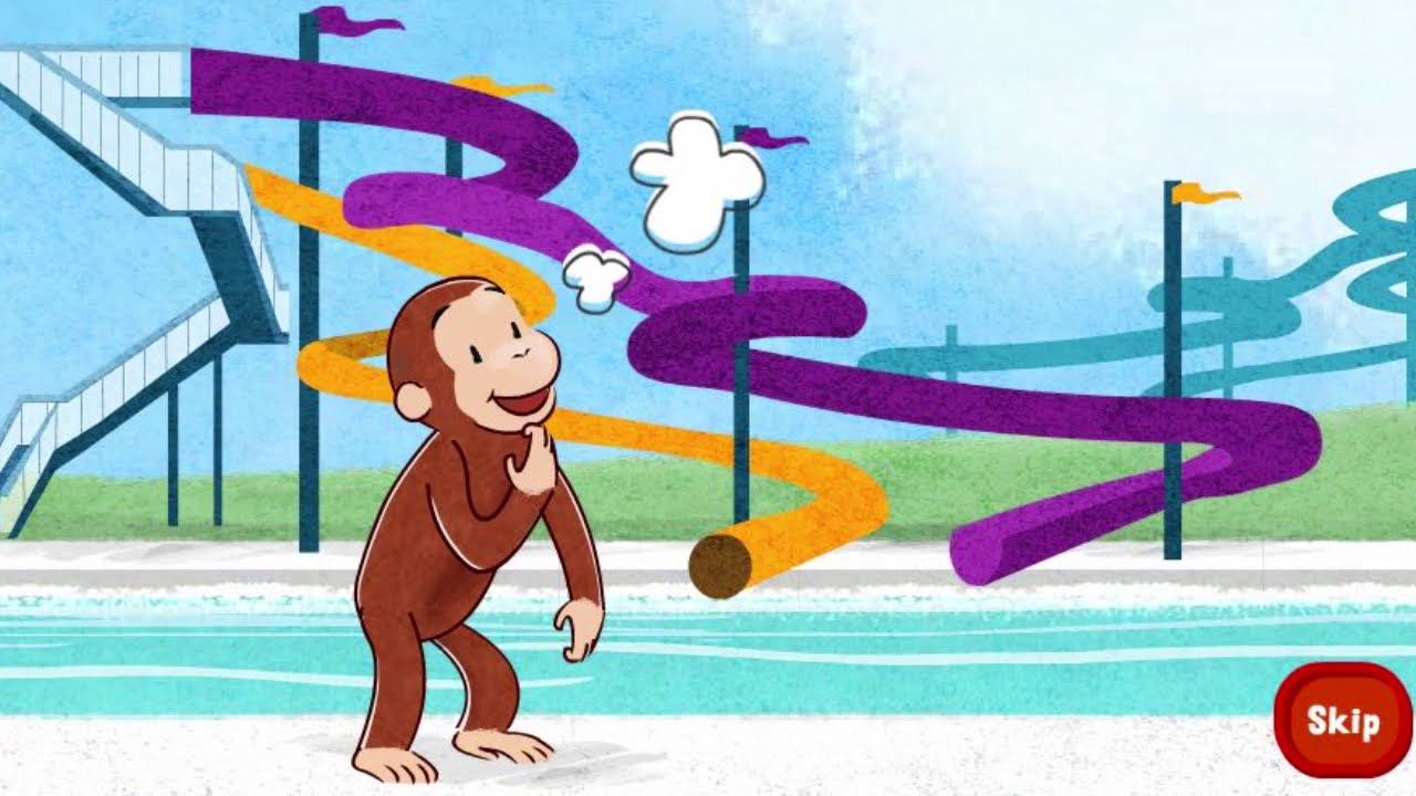 Game for Kids - baby - Monkey Curious George Splash tastic water Slide best