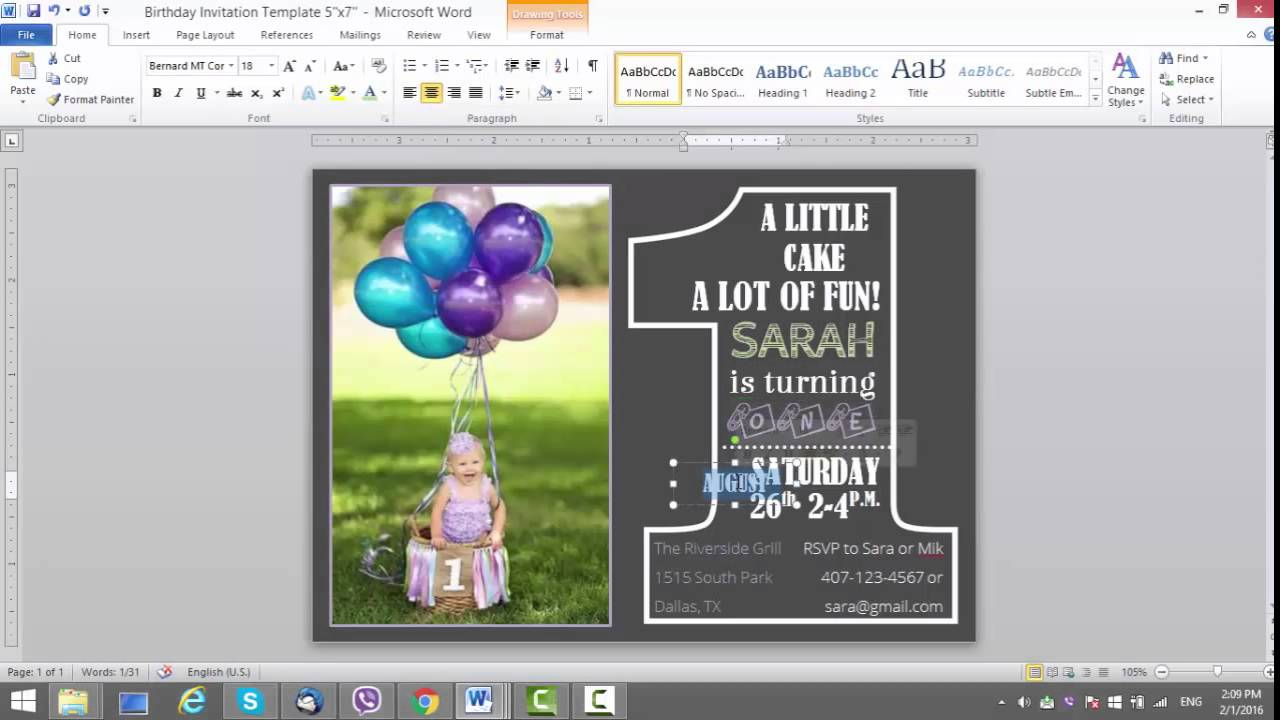 1st Birthday Invitation Template for MS Word - YouTube
