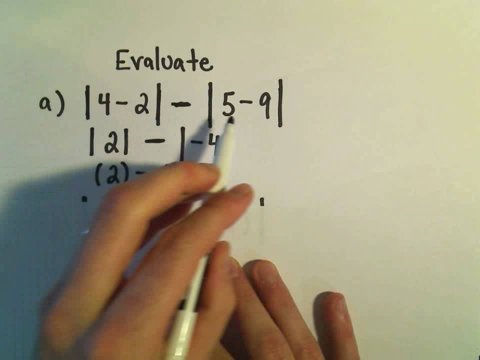 Evaluating Expressions Involving Absolute Value Example 2 Youtube