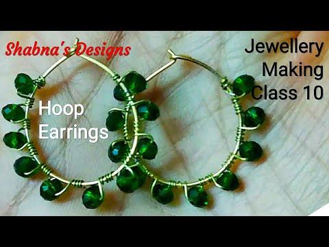 Jewellery Making Class 10/Crystal Hoop Earrings/ Jewellery Making/ Handmade Jewelry/Shabna's Designs