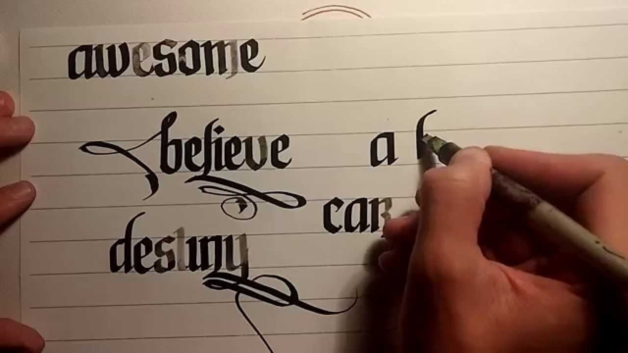 Calligraphy Lesson 2 Examples A B C D Youtube