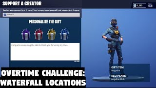 Fortnite All Waterfall Locations Challenge | Gifting Skins Every Day (Fortnite Battle Royale)