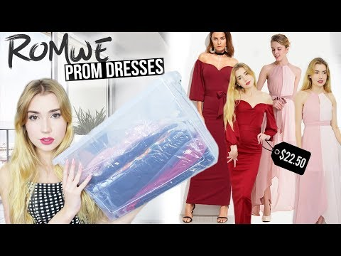 TRYING ON ROMWE PROM DRESSES!! *$20 Prom Dresses?!*