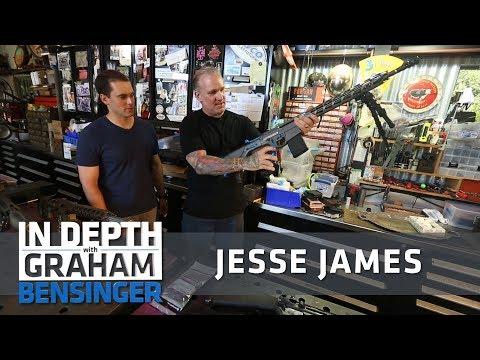 Ready, aim, fire! Jesse James tests his custom firearms