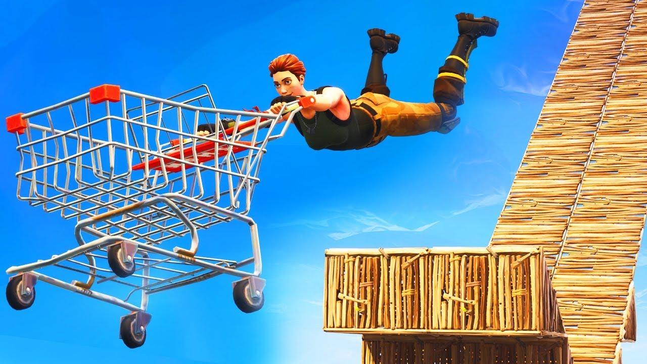 insane shopping cart stunts in fortnite - fortnite cart