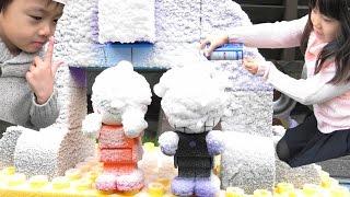アンパンマン バイキン城 & パン工場 大雪注意!! ブロック おうち おもちゃ Anpanman Heavy snow warning Block Toy thumbnail