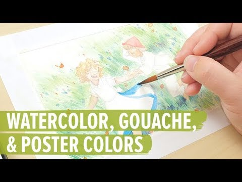 Mixing Colors And Applying Watercolor Paint Gouache And Acrylic