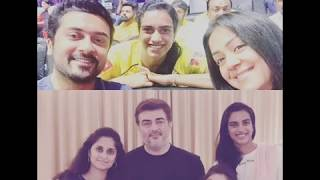 PV Sindhu with Ajith and Suriya family