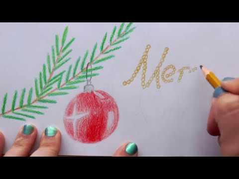 Weihnachtskarten Malen.Weihnachtsbaumast Auf Weihnachtskarte Zeichnen