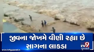 Monsoon 2019: People seen collecting woods in overflowing Par river, Valsad| TV9GujaratiNews
