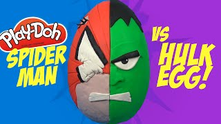 spiderman vs hulk superhero battle spiderman play doh surprise egg with marvel toys by kidcity