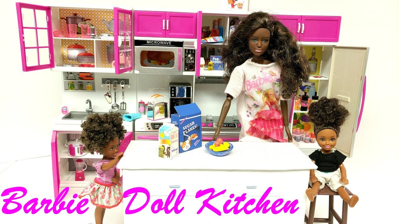 Unboxing New Barbie Doll Modern Kitchen Set Youtube