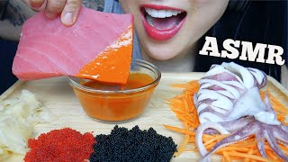 ASMR RAW TUNA *SASHI GRADE + SQUID + TOBIKO + MAYO FIRE SAUCE (EATING SOUNDS) NO TALKING | SAS-ASMR
