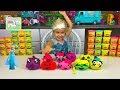 Elsa Opens Halloween Play-Doh Surprise Eggs Pumpkin Silly Faces w/ Disney Princess Toys