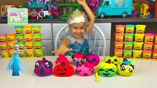 HALLOWEEN PLAYDOH SURPRISE EGGS PUMPKIN FACES Doc McStuffins Disney Princess MyLittlePony Frozen Vid
