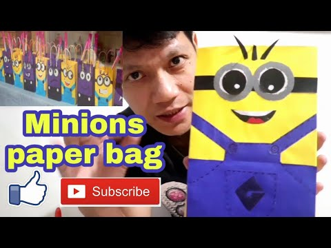 DIY craft: paper lootbags Minions theme l tutorial l how to make minion paper bag l birthday ideas