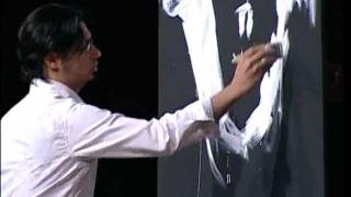 Dr Gorilla creating a painting in 2 minutes and 50 seconds at The Potter