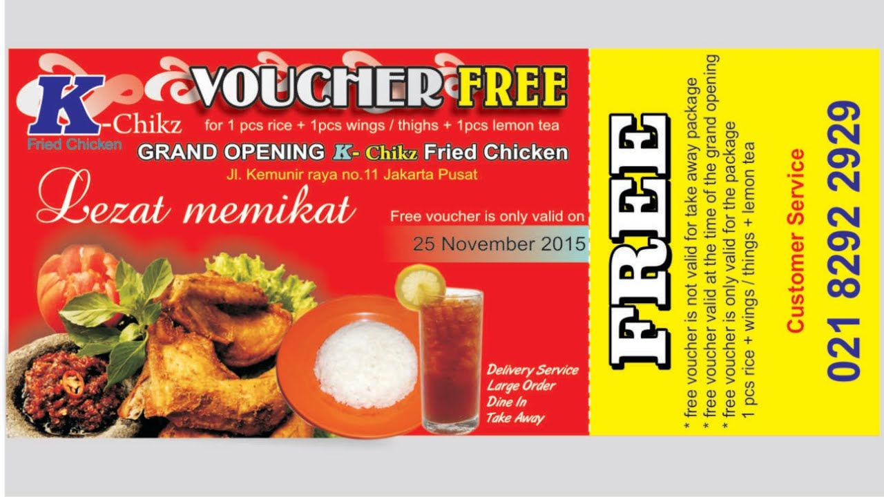 Design x banner makanan - Coreldraw Tutorial Design Vouchers Fried Chicken Lemon Tea For Free Youtube
