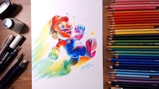 Super Mario スーパーマリオ(Rainbow Mario) Speed drawing