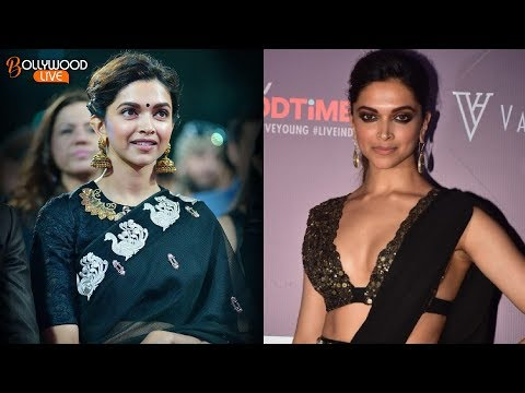 Deepika Padukone Looks Hot In Black Saree - Bollywood Live