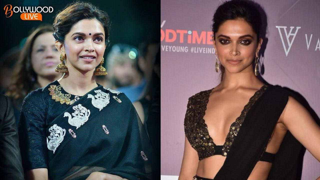 Deepika Padukone Looks Hot In Black Saree Bollywood Live Youtube