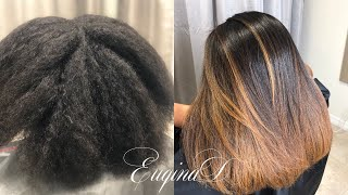 Balayage & Brazilian Blowout  Black n kinky to Caramel Straight Natural Hair