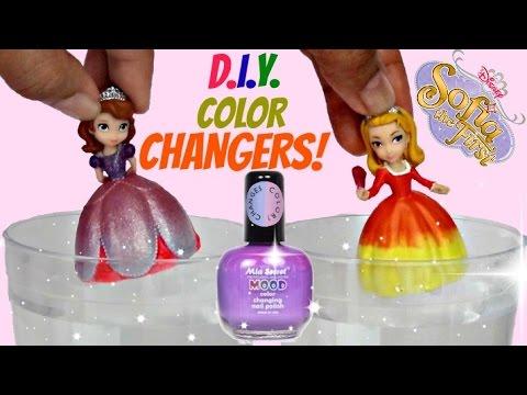 D.I.Y. Princess Sofia The First & Amber Dress Make-over / Do it Yourself Nail Mood Polish / TUYC