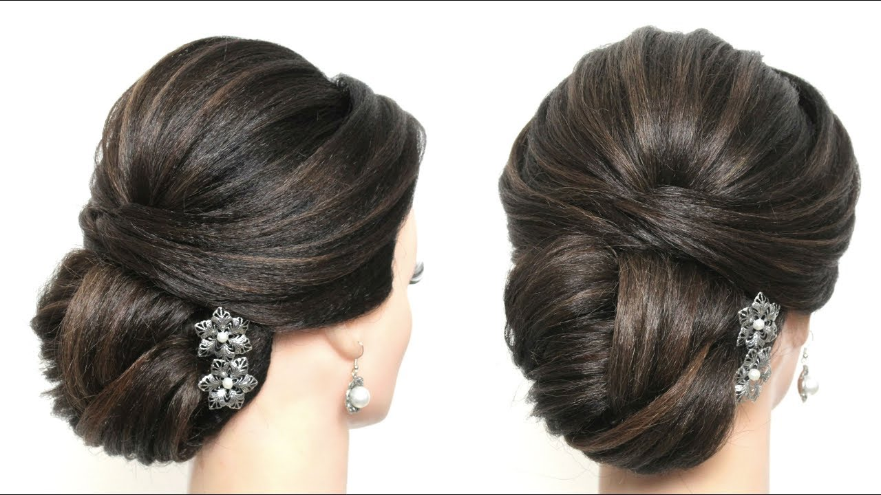 elegant bridal hairstyle for long medium hair. wedding updo tutorial