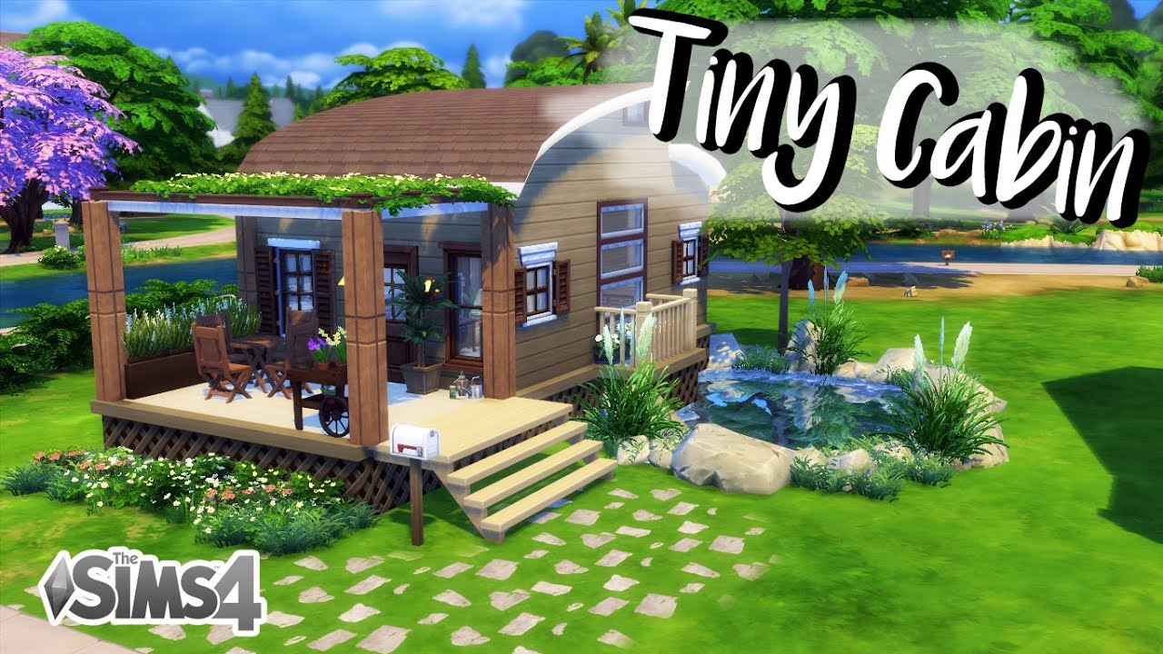 The sims 4 house build tiny cabin no cc youtube for Small house design sims 4