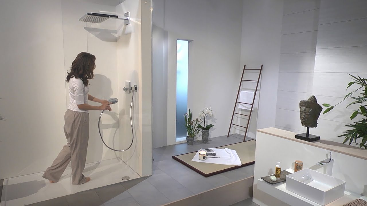 hansgrohe rainmaker select 460 1jet overhead shower 24003400 youtube. Black Bedroom Furniture Sets. Home Design Ideas