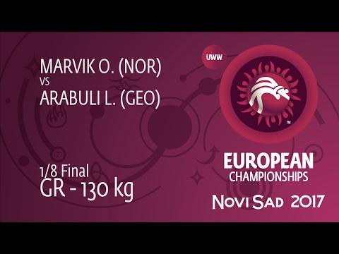 1/8 GR - 130 kg: L. ARABULI (GEO) df. O. MARVIK (NOR) by TF, 9-0