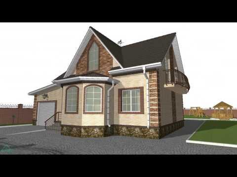 Проект уютного одноэтажного коттеджа с мансардой и гаражом  C-043-ТП