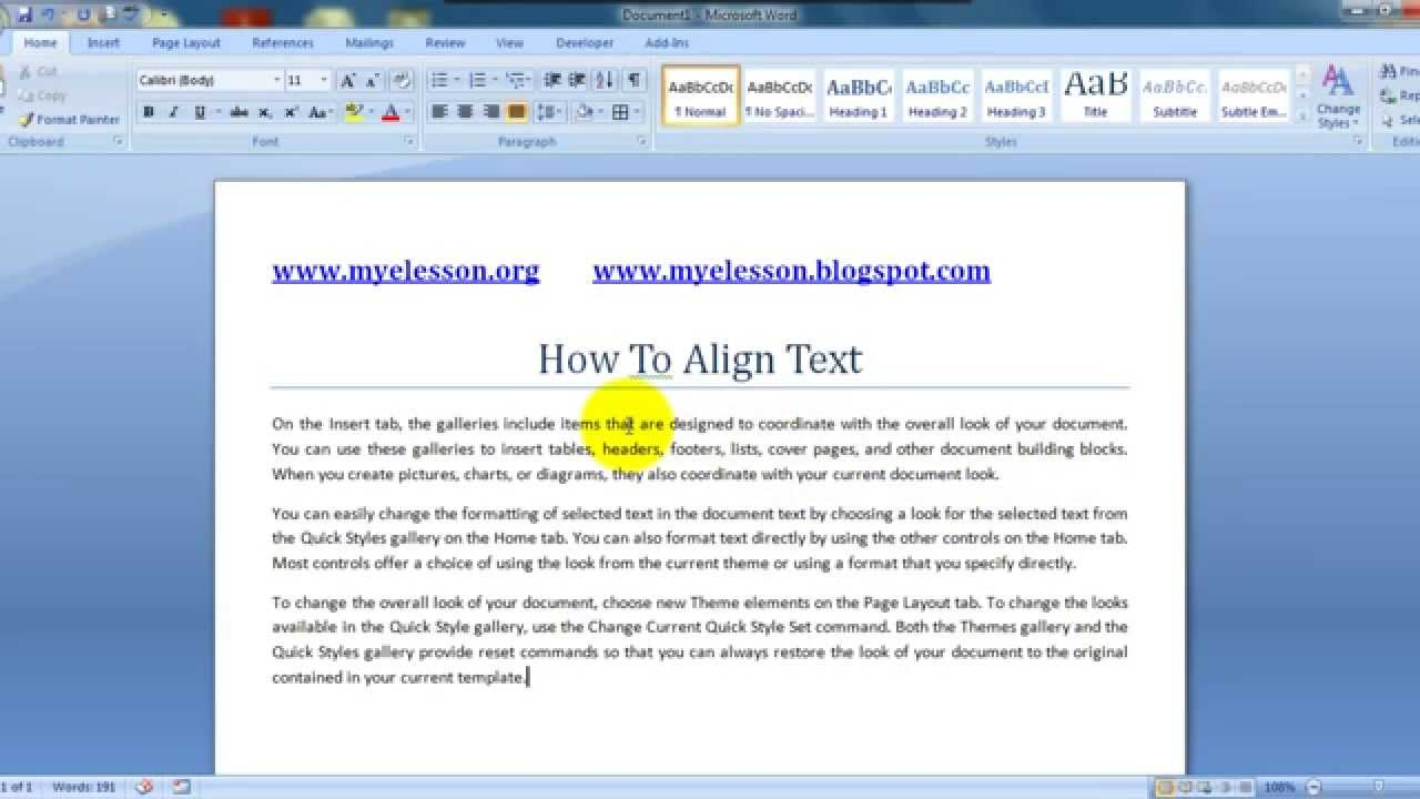 Ms Word Format Text Better With Justify Alignment Youtube
