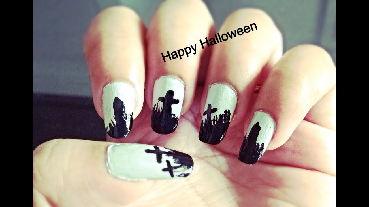 Graveyard design easy halloween nail art youtube prinsesfo Choice Image