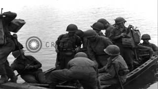 Troops from the United States 314th Infantry Regiment, 79th Infantry Division cro...HD Stock Footage