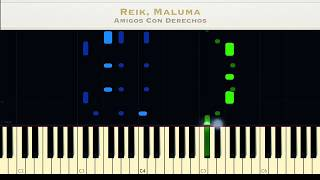 Reik, Maluma - Amigos Con Derechos Piano Tutorial Cover +Midi\Sheet Music
