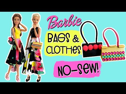 DIY How to make Barbie Doll Clothes! No Sew Skirt, Top and Bag. Very Easy!