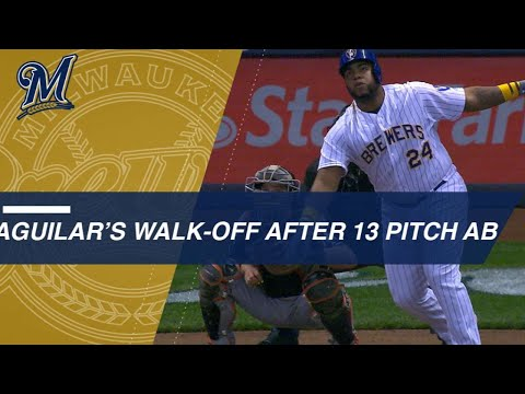 Aguilar's EPIC 13-pitch at-bat ends with WALK-OFF HOME RUN