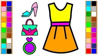 coloring dress  | female accessories | coloring pages for girls | coloring perfume | Coloring Pages