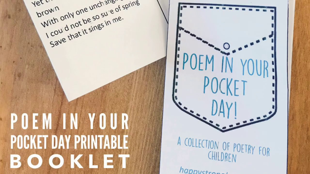 photograph regarding Keep a Poem in Your Pocket Printable named Poem in just your Pocket Working day - cost-free Printable - YouTube